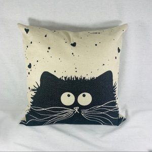 Cat Throw Pillow on Burlap Colored Background.